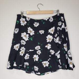 Bar III ruffle faux wrap floral mini skirt NWT 12